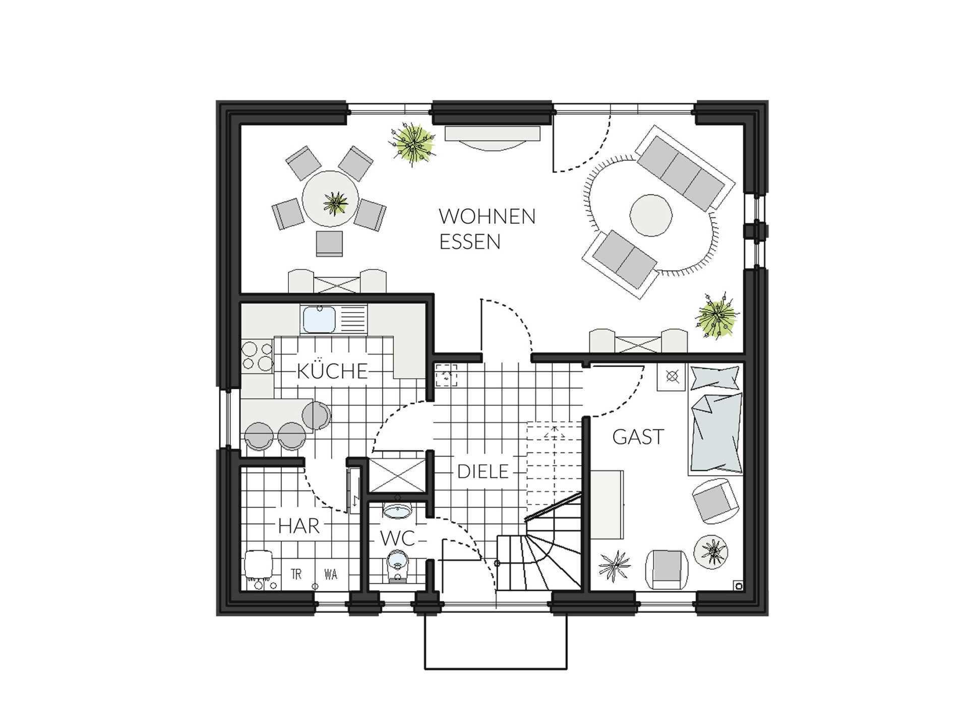 Einfamilienhaus ProFamily 134 Grundriss EG