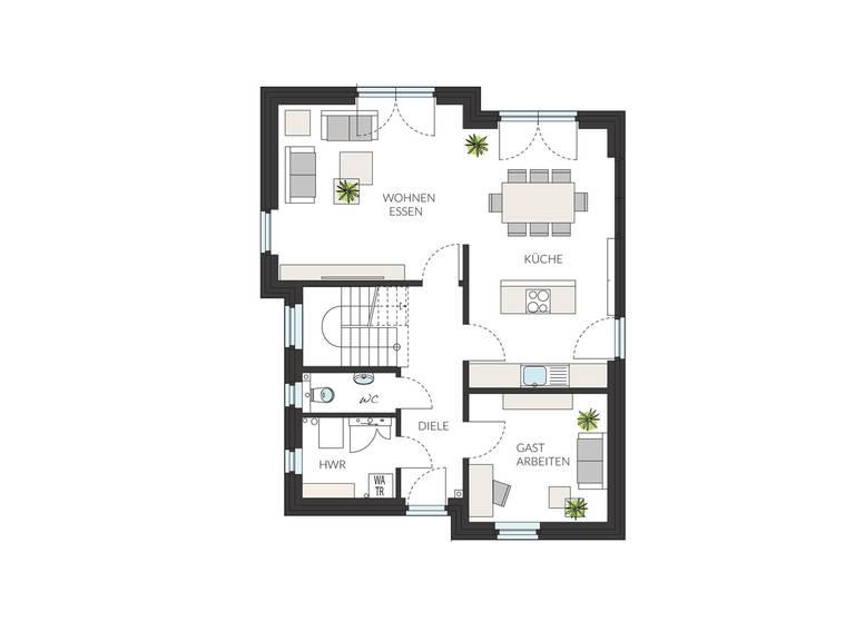 Pultdachhaus ProStyle 141 Grundriss EG