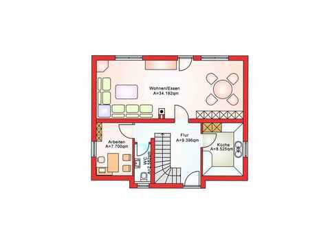 Einfamilienhaus BS 107 - B&S Selbstbausysteme Grundriss EG