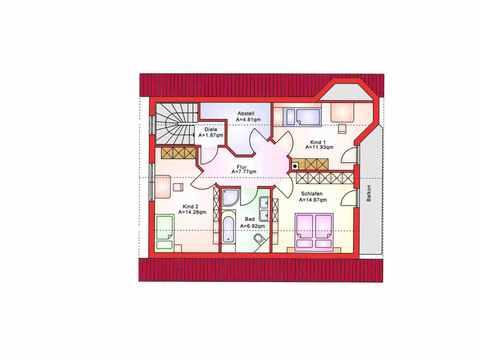 Einfamilienhaus BS 134 - B&S Selbstbausysteme Grundriss DG