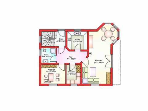 Einfamilienhaus BS 134 - B&S Selbstbausysteme Grundriss EG