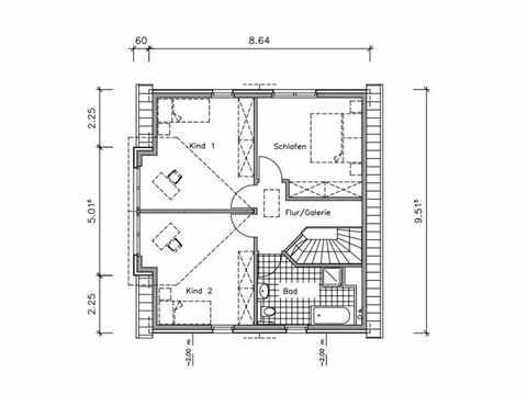 Landhaus LA-138 - NURDA-Hausbau Grundriss OG