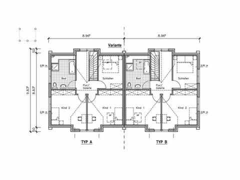 Doppel-Landhaus 132/134 DH - NURDA-Hausbau Grundriss OG