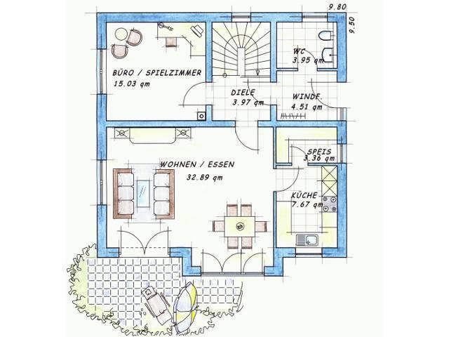 Variante 1 Grundriss Erdgeschoss