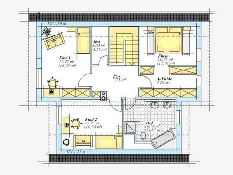 Trendhaus Ökovital 39 Grundriss Dachgeschoss