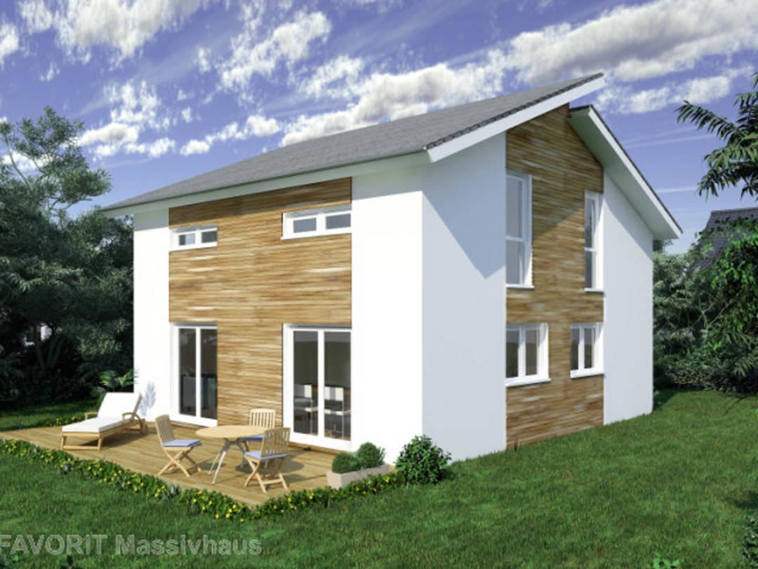 Aussenansicht auf das Pultdach-Haus mit Zierholzfassade.