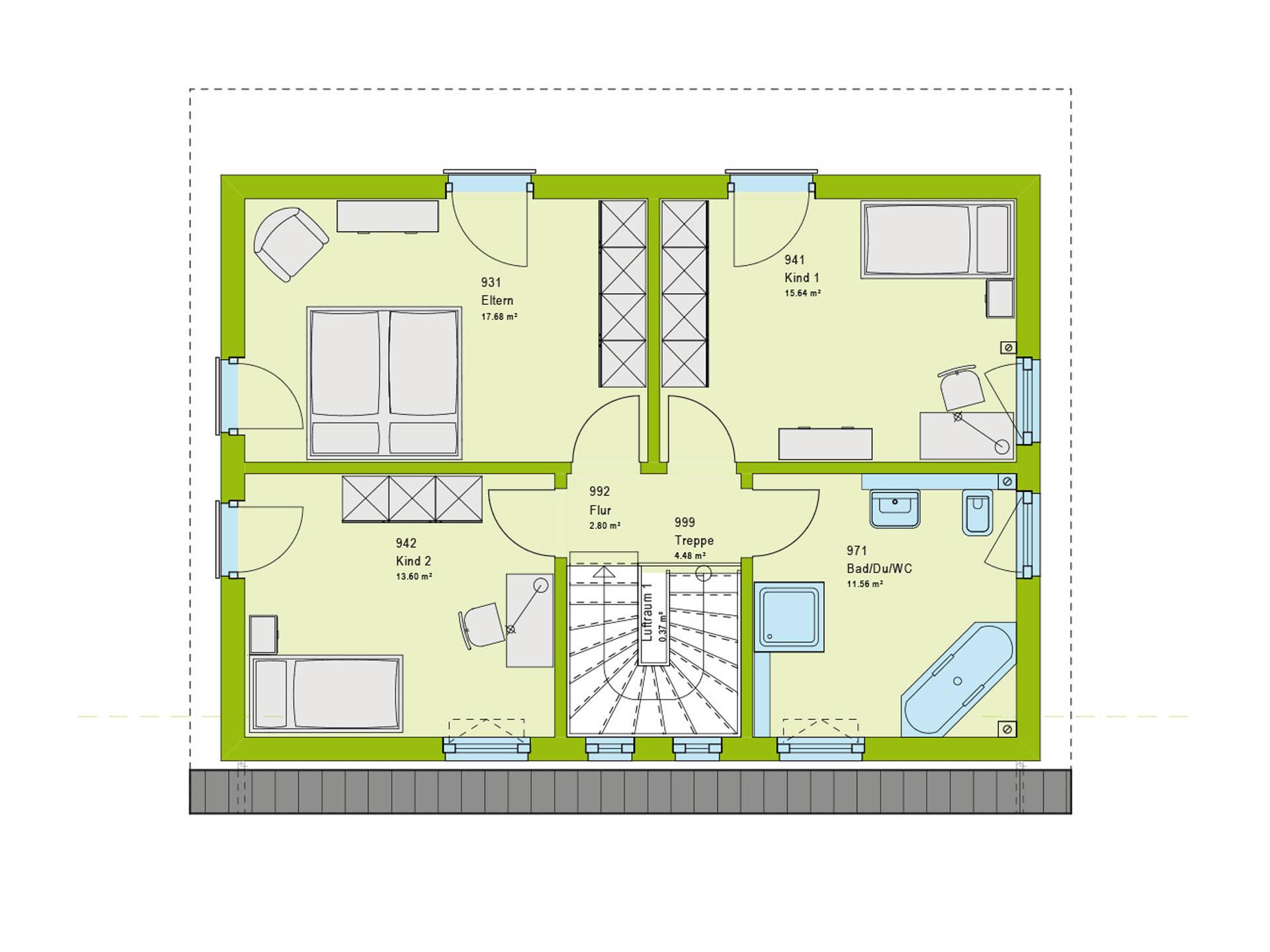 Pultdachhaus Contur 1 Grundriss DG von massa haus
