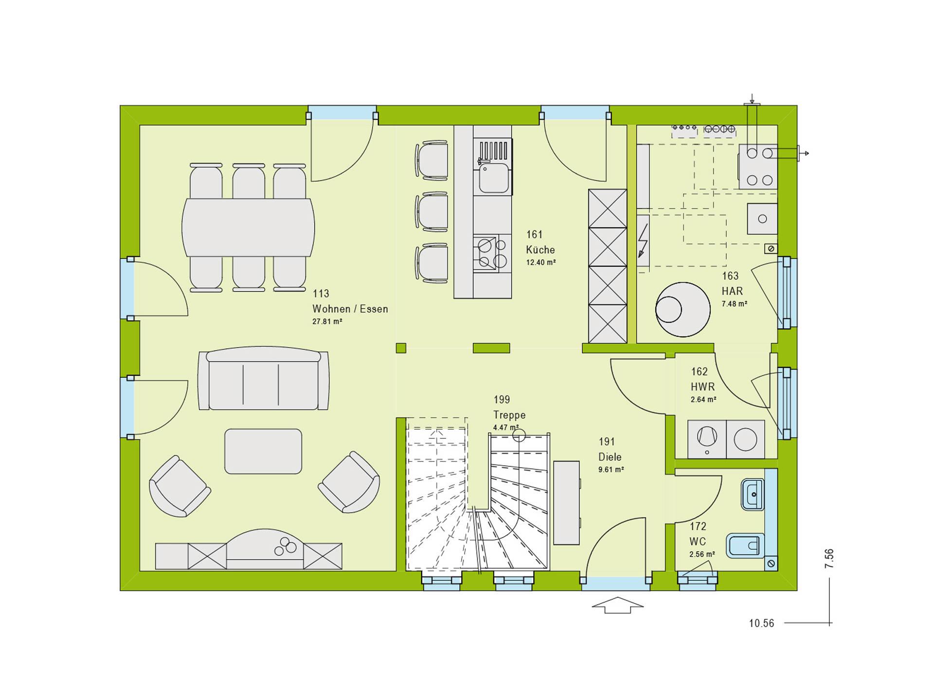 Pultdachhaus Contur 1 Grundriss EG von massa haus