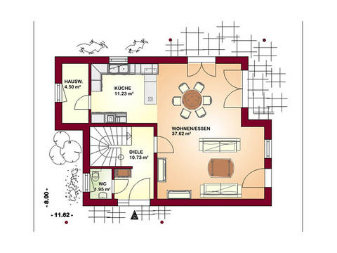 Ambiente 128 Grundriss Erdgeschoss