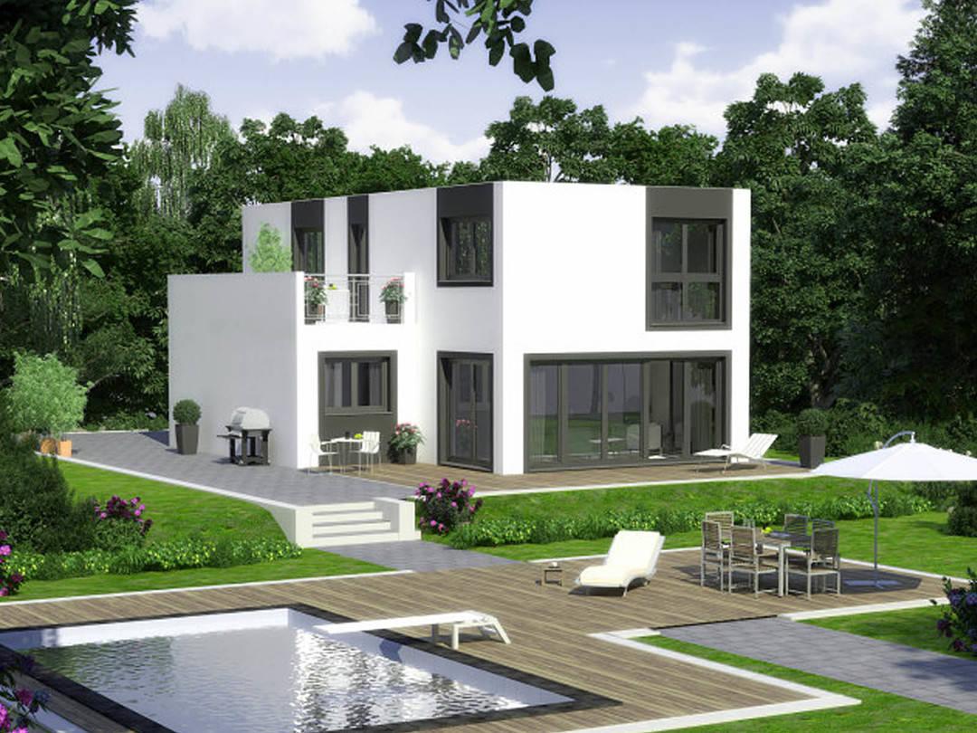 Aussenansicht auf die Terrasse und die Dachterrasse des Flachdachhauses im Bauhausstil.