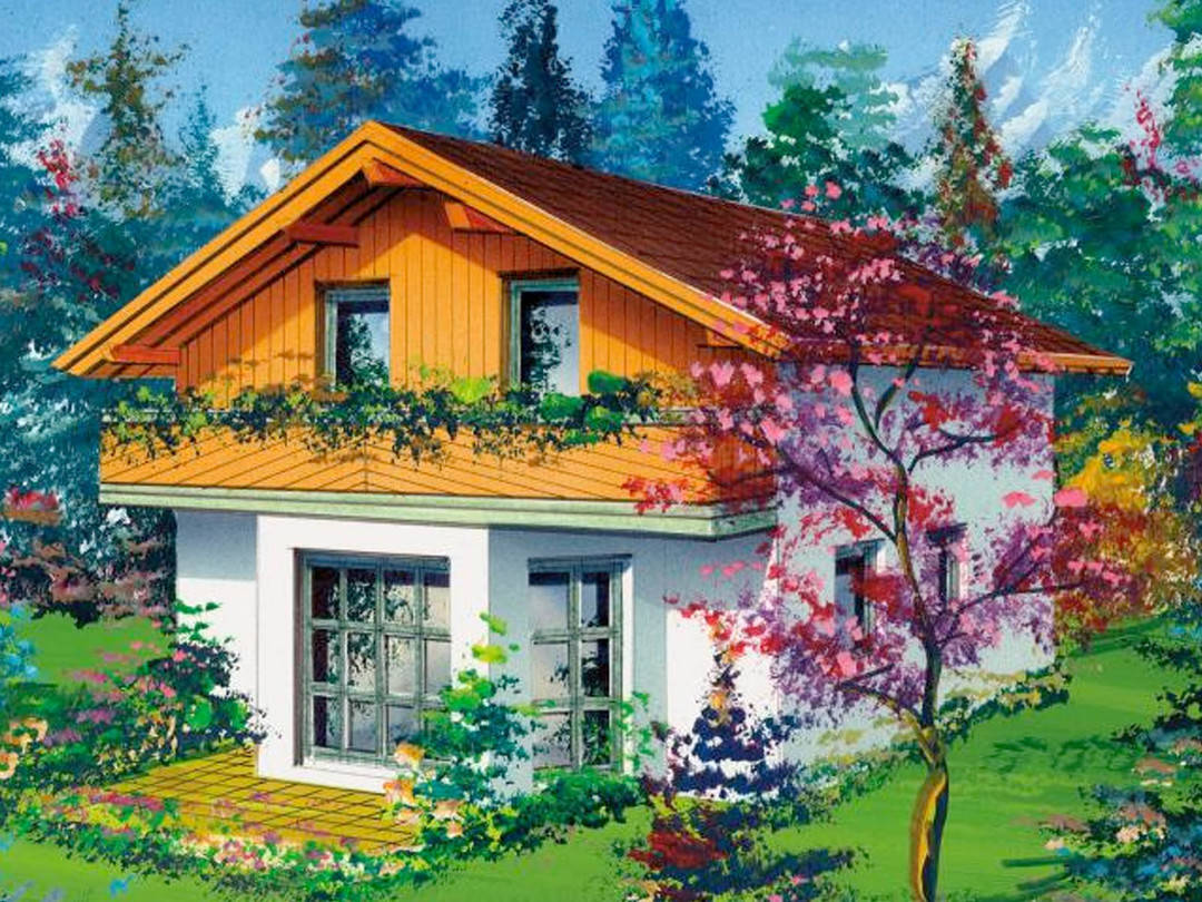 Aussenansicht auf das Landhaus mit Blick auf den Erker und den Balkon.