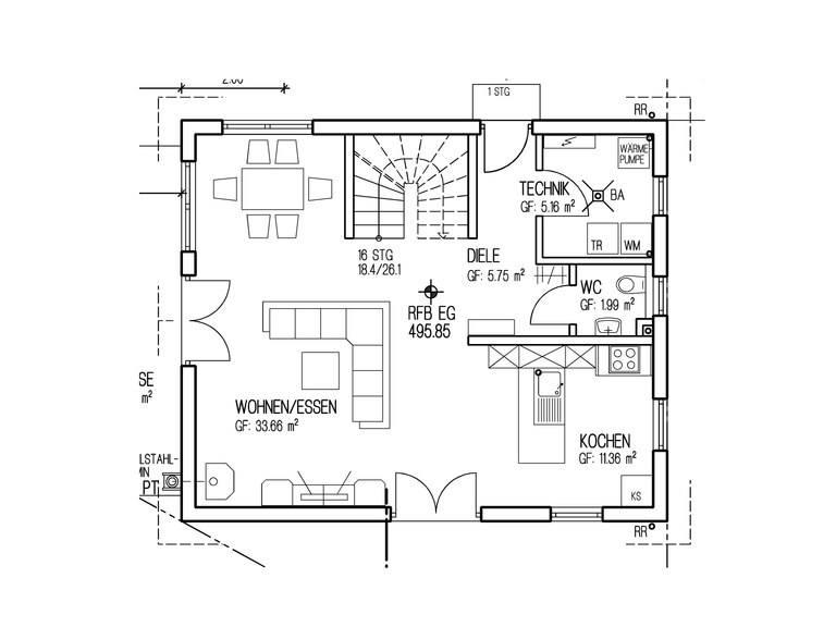 Haustyp SD104 Sachsenheimer Fertighaus Grundriss EG