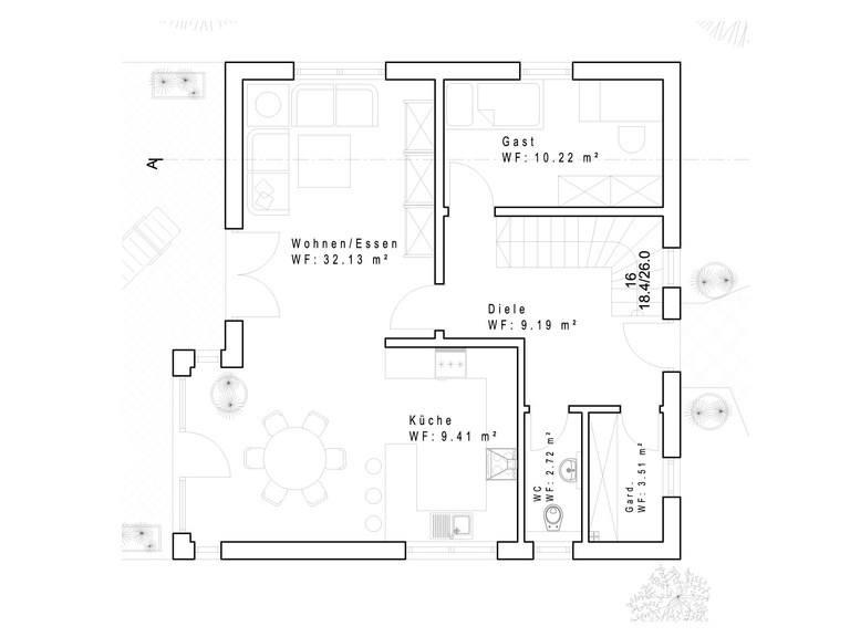 Haustyp SD120 Grundriss EG - IBIS Haus