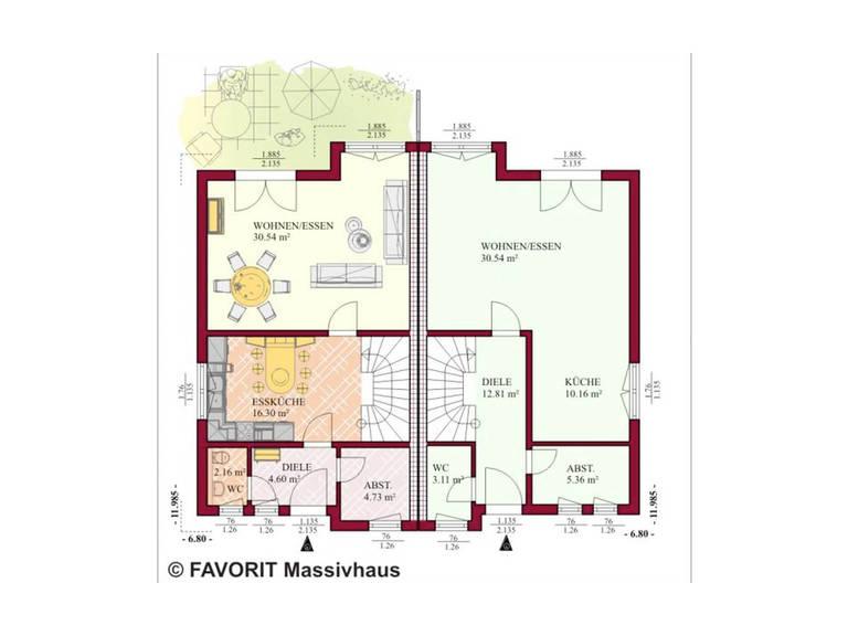 Doppelhaus Finesse 115 Grundriss Erdgeschoss