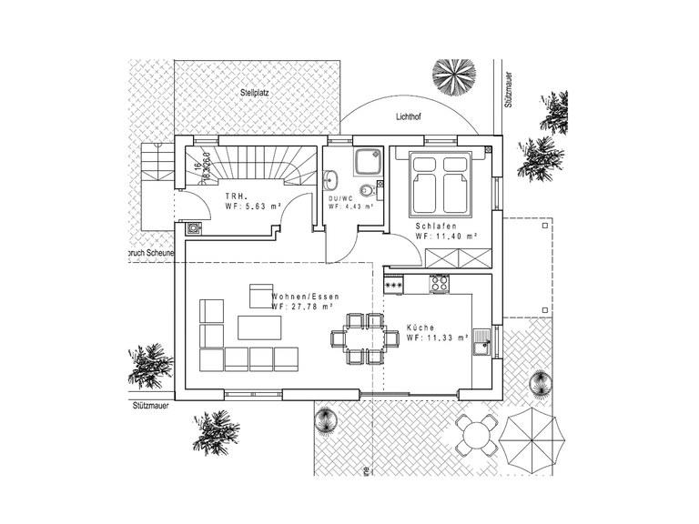 Haustyp SD121-2F Sachsenheimer Fertighaus Grundriss EG