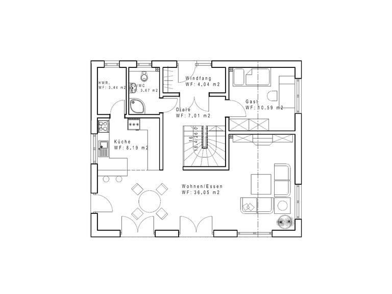 Einfamilienhaus SD131 Grundriss EG