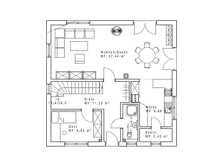 Haustyp Satteldachhaus 133 EG - Sachsenheimer Fertighaus