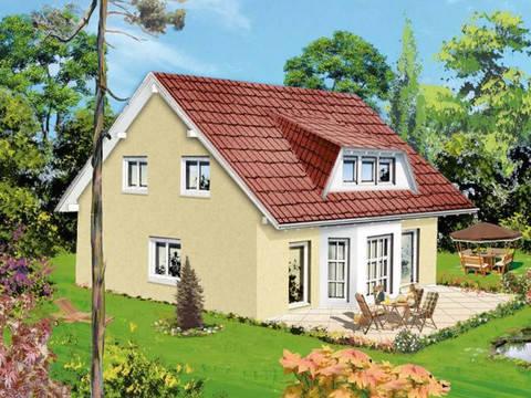 Aussenansicht auf die Terrasse mit Blick auf den Erker im Wohn- und Essbereich.