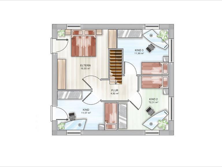 ICON-Modulhaus 3.01 CITY Grundriss DG von Dennert Massivhaus