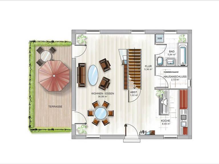 ICON-Modulhaus 3.01 CITY Grundriss EG von Dennert Massivhaus