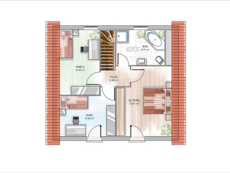 Modulhaus ICON 3.02 Grundriss DG von Dennert Massivhaus