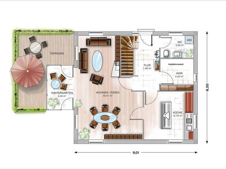 Modulhaus ICON 3.02 Grundriss EG von Dennert Massivhaus