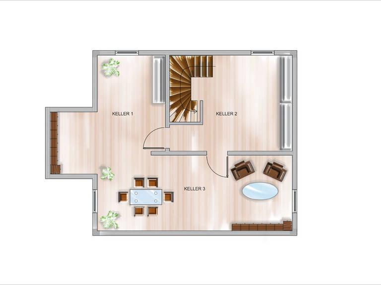 Modulhaus ICON 3.02 Grundriss KG von Dennert Massivhaus