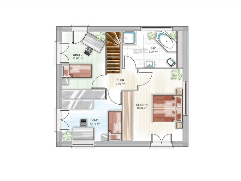 Modulhaus ICON 3.02 CITY Grundriss DG von Dennert Massivhaus
