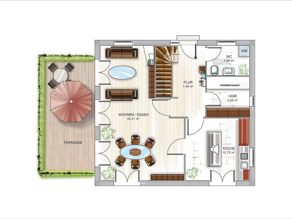 Modulhaus ICON 3.02 CITY Grundriss EG von Dennert Massivhaus