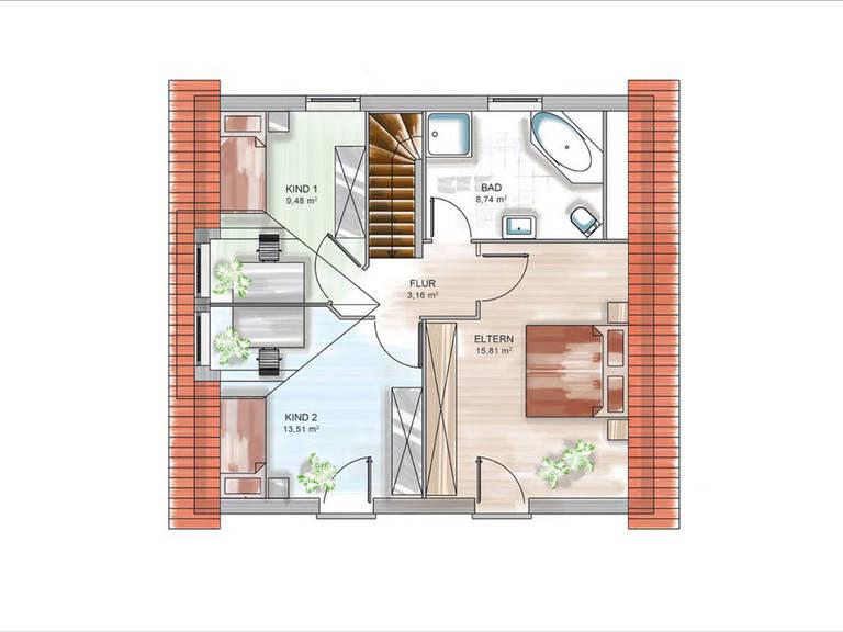 Modulhaus ICON 3.02 TRE Grundriss DG von Dennert Massivhaus