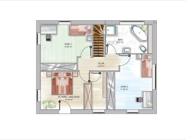 ICON-Modulhaus 3.PLUS CITY Grundriss DG von Dennert Massivhaus