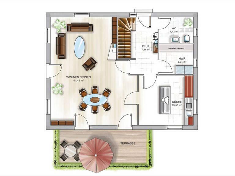 ICON-Modulhaus 3.PLUS CITY Grundriss EG von Dennert Massivhaus