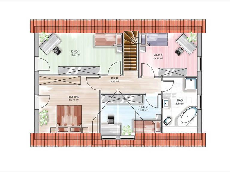 Modulhaus ICON 4.02 von Dennert Massivhaus Grundriss DG
