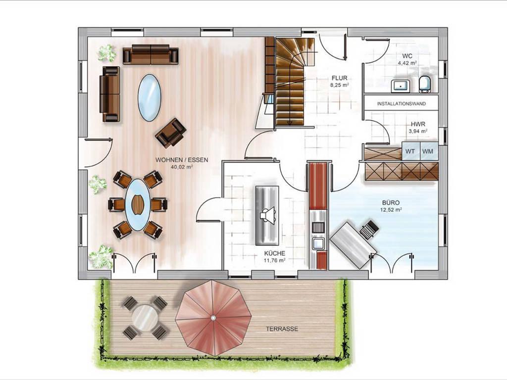Modulhaus ICON 4.02 von Dennert Massivhaus Grundriss EG