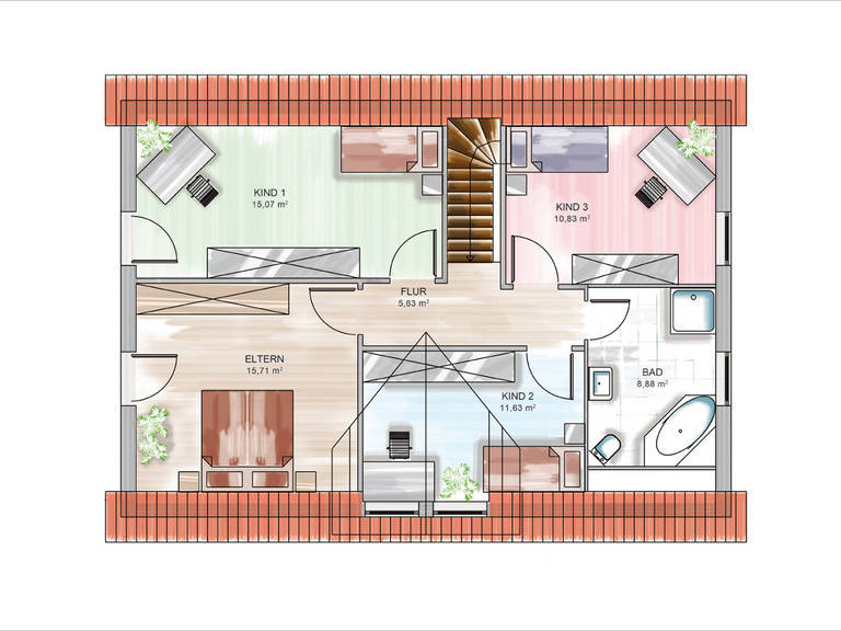 Dennert ICON-Modulhaus 4.01 TRE Grundriss DG
