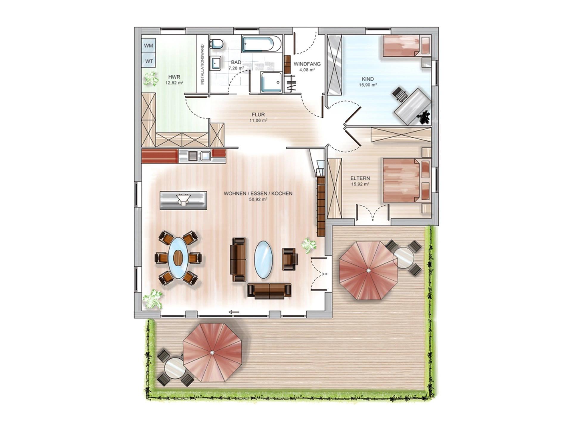 Winkelbungalow ICON 6.1 Grundriss von Dennert Massivhaus